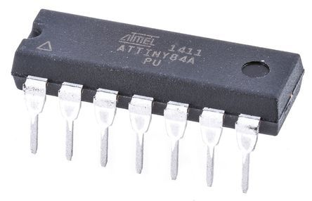 Microchip Technology ATTINY84A-PU, 8bit AVR Microcontroller, 20MHz, 8 kB Flash, 14-Pin PDIP