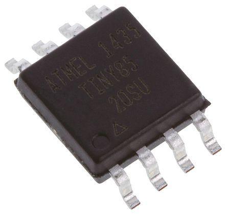 Microchip ATTINY85-20SU, 8bit AVR Microcontroller, AVR, 20MHz, 8 kB Flash, 8-Pin EIAJ SOIC