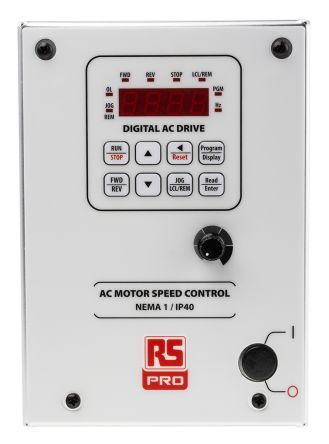 RS PRO Inverter Drive, 1-Phase In, 0.3 → 240Hz Out 0.75 kW, 230 V ac with EMC Filter, 3.6 A RSMK, IP40