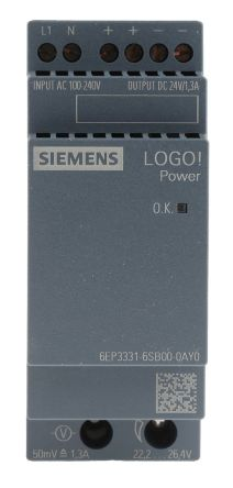 Power Supply, AC-DC, 24V, 1.3A, 100-240V In, Din Rail Mount, LOGO! 4th Gen