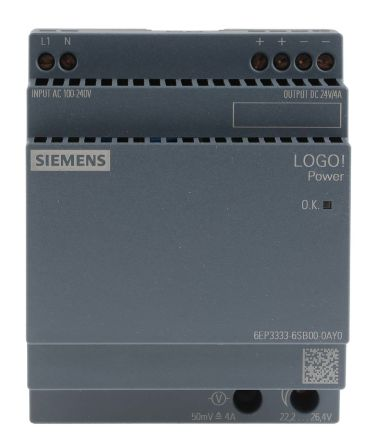 Power Supply, AC-DC, 24V, 4A, 100-240V In, Din Rail Mount, LOGO! 4th Gen