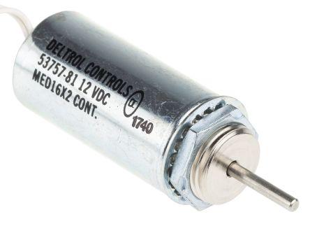 Deltrol Linear Solenoid Actuator, 12 V dc, 35.9N, 1.4 (Stroke N @ 0.75 in), 25.4 (Dia.) x 60.33 mm