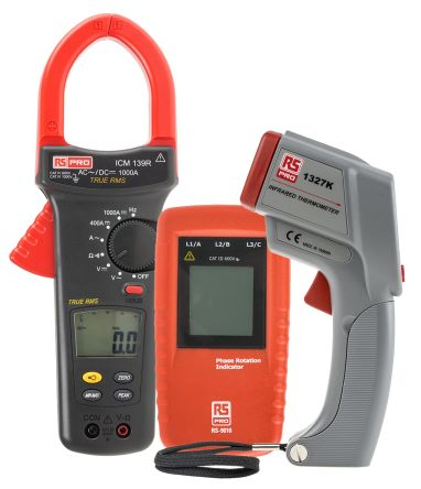RS Pro IR Thermometer, Phase Rotation Indicator Kit Clamp Meter, Max Current 1kA ac, 1kA dc CAT III 1000 V, CAT IV 600 V