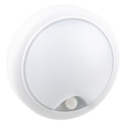 RS PRO, 15 W Round Cool White LED Bulkhead Light, Frosted, 220-240 V, Plastic, IP65, PIR, with White Diffuser
