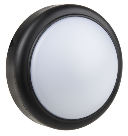 RS PRO, 15 W Round Cool White LED Bulkhead Light, Frosted, 220-240 V, Plastic, IP65, with White Diffuser