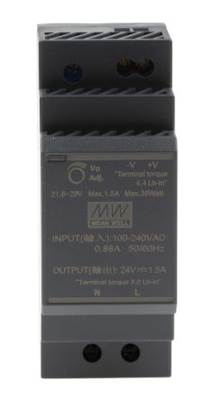 Power Supply;AC-DC;DIN Rail;36W;24V,1.5A;85-264V In;Industrial