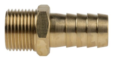 RS PRO Straight Brass Hose Connector, 3/8 in BSP Male