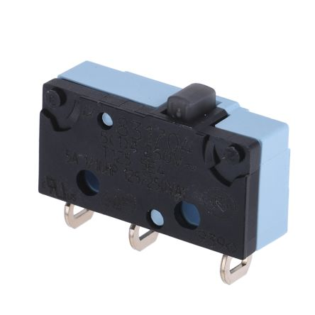 NO/NC Button Microswitch, 5 A @ 250 V ac