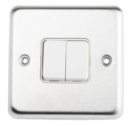 Rocker Light Switch >> White 10 A Flush Mount Rocker Light Switch White 2 Way Screwed 2 Gang Bs 86mm Stainless Steel 1 1 K4672 Screw