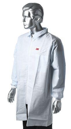 3M White Unisex Disposable Lab Coat, S