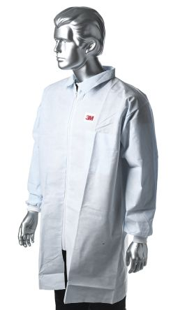 3M White Unisex Disposable Lab Coat, L