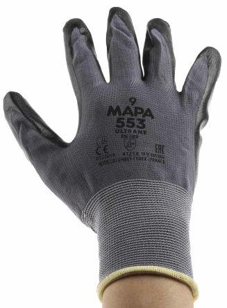 Mapa Professional Ultrane 553 Nitrile H//DEXT Gloves Black SZ.8 PR