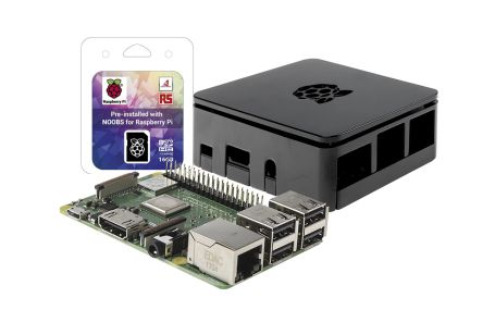Raspberry Pi 3B+ with NOOBS and Black Case Development Kit