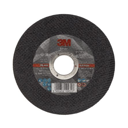 3M T41 Silver Cutting Disc, 115mm Diameter, 1mm Thick