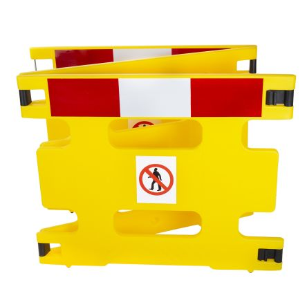 Addgards Red, White, Yellow No Entry Barrier, 800mm x 1m.