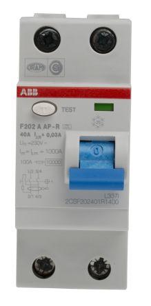 ABB 2 Pole Type A Residential RCCBs, 40A F200, 30mA