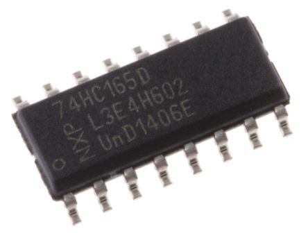 Nexperia 74HC165D,652 8-stage Shift Register, Serial to Serial/Parallel, , Uni-Directional, 16-Pin SOIC