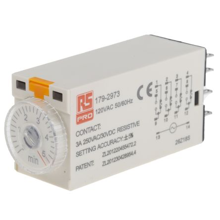 RS PRO 4PDT Time Delay Relay - 0.2 → 5 min, 4 Contacts, On-Delay, Plug In