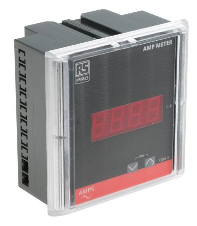 RS PRO Digital Ammeter, Digital Display 4-Digits Class 1.0, 90 x 90 x 55 mm