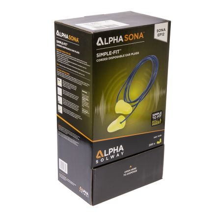 Alpha Solway Corded Disposable Ear Plugs, 34dB, 200 Pairs per Package