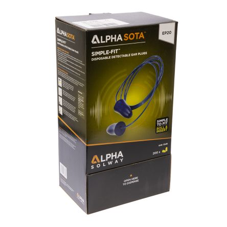 Alpha Solway Corded Disposable Ear Plugs, 35dB, Blue, 200 Pairs per Package