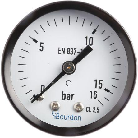 Bourdon MAT2F20B24 Analogue Positive Pressure Gauge Back Entry 16bar