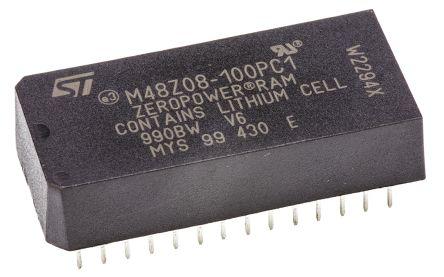 STMicroelectronics M48Z08-100PC1 NVRAM, 64kbit, 100ns, 5V 28-Pin PCDIP