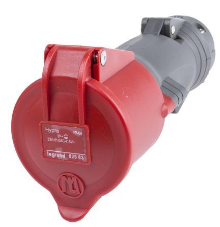 Red 3P+E straight free socket,32A 400V