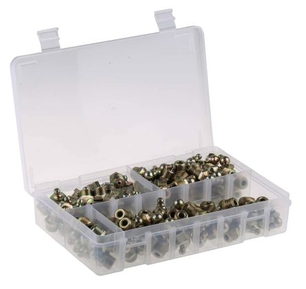 RS PRO Grease Nipple Kit Contains H1 Straight 1/4 in BSP (x50)