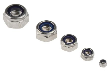 RS PRO 545 Piece Stainless Steel Self Locking Nuts Box