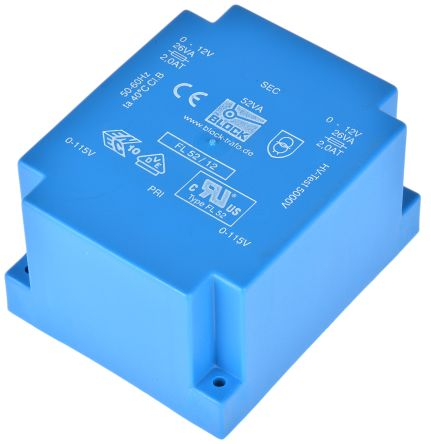 12V ac 2 Output Through Hole PCB Transformer, 52VA