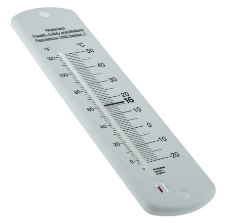Brannan Wall Mount Glass Thermometer, General Purpose, -20 → +50 °C