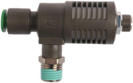 SMC Adjustable Exhaust Valve, 1/4 in R 1/4 Male x8mm