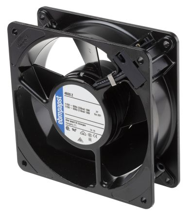 ebm-papst 4000N Series Axial Fan, 119 x 119 x 38mm, 180m³/h, 18W, 115 V ac