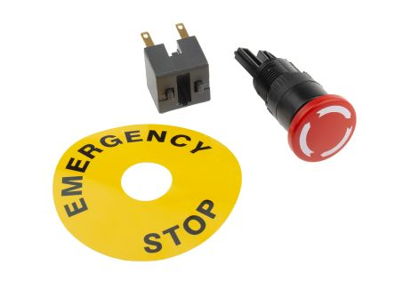 Apem, Red, Twist to Reset 24mm Mushroom Head Emergency Button product photo