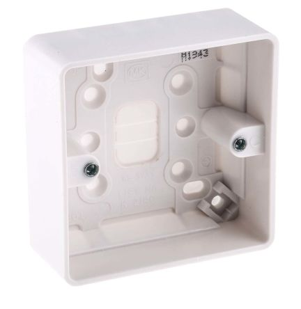 MK Electric Logic Plus White Gloss Urea Formaldehyde/Melamine Back Box, BS Standard, IP20, Surface Mount, 1 Gangs, 87 x