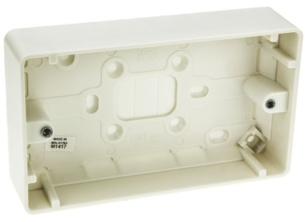 MK Electric Logic Plus White Gloss Urea Formaldehyde/Melamine Back Box, BS Standard, IP20, Surface Mount, 2 Gangs, 148