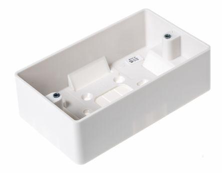 MK Electric Logic Plus White Gloss Urea Formaldehyde/Melamine Back Box, BS Standard, IP20, Surface Mount, 2 Gangs, 148