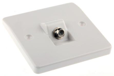 White satellite coaxial outlet