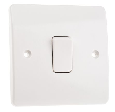 White 10 A Flush Mount Plate Light Switch MK White 7 mm, 2 Way Screwed Semi Gloss, 1 Gang BS Standard, 250 V ac 86mm