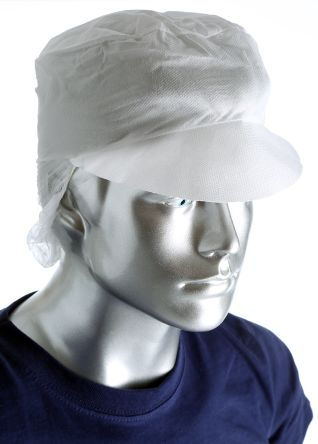 PAL White Disposable Snood Cap One Size, Ideal for Electronics, Food Industry, Pharmaceutical Use