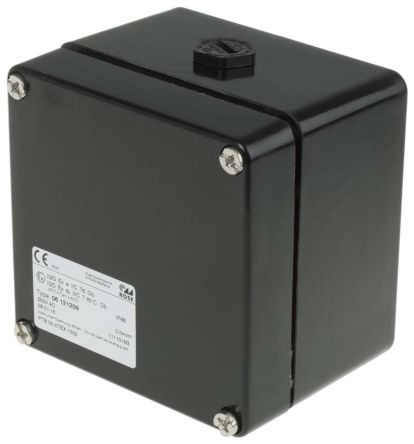 Glass Fibre Reinforced PET IP66 Junction Box, 10 Terminal, 122 x 120 x 90mm, Black