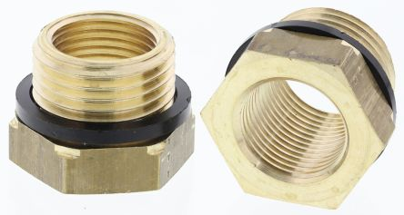 Brass 1/2 in BSPP Male x 3/8 in BSPP Female Straight Reducer Threaded Fitting product photo