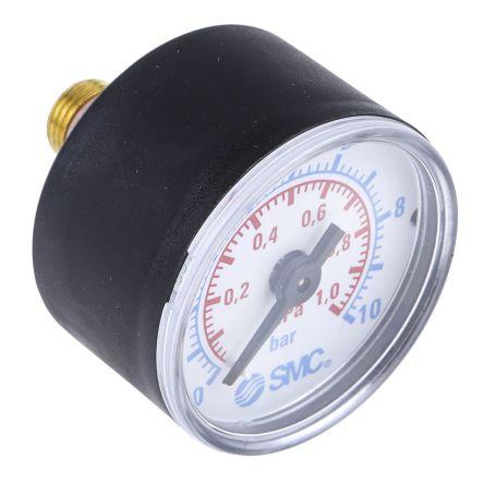 SMC K8-10-40 Analogue Positive Pressure Gauge Back Entry 10bar, Connection Size R 1/8