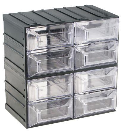 RS PRO Transparent, Plastic 8 Drawer Storage Unit, 208mm x 208mm x 132mm