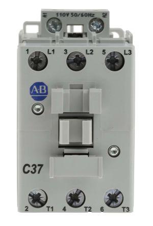 Allen Bradley 3 Pole Contactor - 37 A, 110 V ac Coil, 100 Series, 3NO, 18.5 kW