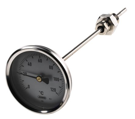 Dial Thermometer, Centigrade Scale, 0 → +120 °C, 80mm dia. Immersion