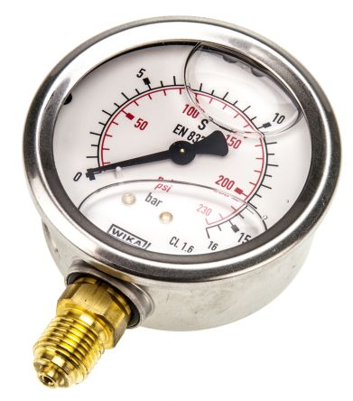 WIKA 7075741 Analogue Positive Pressure Gauge Bottom Entry 16bar, Connection Size G 1/4