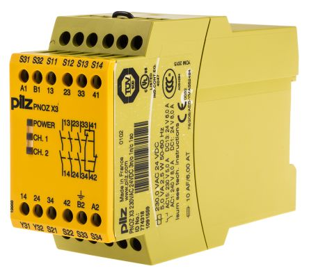 Pilz PNOZ X3 24 V dc, 230 V ac Safety Relay Dual Channel With 3 Safety Auxiliary Relay Wiring Contacts on