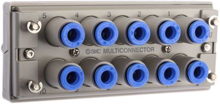 10 Outlet Ports Brass, PBT Pneumatic Multi-Connector Tube Panel, Push In 6 mm product photo